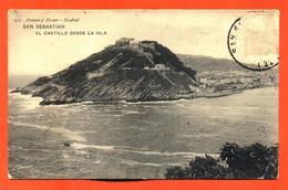 """CPA San Sebastian """" El Castillo Desde La Isla """" - Spagna"""