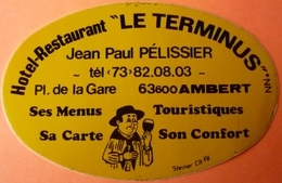 AUTOCOLLANT STICKER - HOTEL RESTAURANT - LE TERMINUS - AMBERT - 63 - Stickers