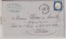"ITALIE : N° 10 . DE "" TURIN ""  . POUR MILAN . 1863 . ( CATALOGUE YVERT ) . - 1861-78 Vittorio Emanuele II"