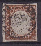 "SARDAIGNE : N° 15 . OBL . "" TAMARA "" . SIGNE AVEC CERTIFICAT CALVES . 1862 . ( CATALOGUE YVERT ) . - Sardinia"