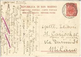RSM Rep. San Marino CP 20A Parte Risposta Pagata C30 Rosso 27dicembre1935 Da Milano Ricordi Ed. Musicali - Entiers Postaux