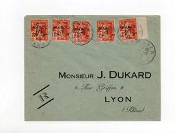 !!! MAROC, 5 EX DU 10C SEMEUSE AVEC SURTAXE CROIX ROUGE SUR LETTRE DE TANGER DE 1915 - Morocco (1891-1956)