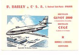 Buvard P. BAILLY & Cie .S.A PARIS Bretelles Guyot, CEGE Ceintures Avion Caravelle - Textile & Vestimentaire