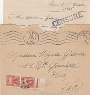 LETTRE NON AFFRANCHIE TAXEE A 6F LYON GARE 21/10/46 + CENSURE PRISONNIER POUR NICE - 1859-1955 Covers & Documents