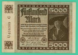 5000 Mark - Allemagne - 2 12 1922 - N° U676309C - TTB - - 5000 Mark
