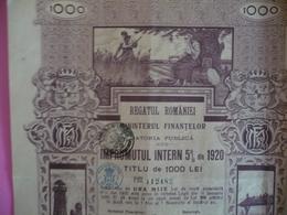 ROUMANIE / ROMANIA Titre  ( Bond )  De 1000   LEI  /  LOAN  5 %  1920 - Otros