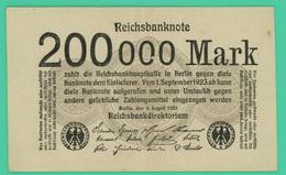 200 000 Mark - Allemagne - 9/08/1923 -  TTB + - - [ 3] 1918-1933 : República De Weimar
