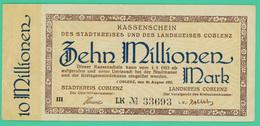 10 000 000 Mark - Allemagne - Coblenz - 1/9/1923 -  Série LK33693 - TTB - - 10 Millionen Mark
