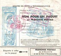 12373  BON POUR UN PAQUET EN FRANCHISE POSTALE ARMEE DE L AIR BASE AAERIENNE 705 TOURS - Militaria