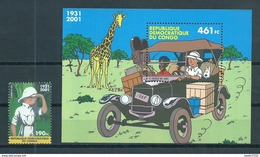 2001 Rep.Congo Complete M/Sheet+stamp Kuifje,comics,Hergé MNH/Postfris/Neuf Sans Charniere - Ungebraucht