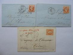 1 LOT DE 3 LETTRES  TIMBRES NAPOLEON III 40 C DENTELES SUR LETTRE DE 1865 OBLITERE ETOILE - 1862 Napoleone III