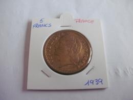 France - 5 Francs 1939 - Lavrillier - J. 5 Francs