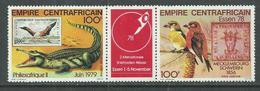 """Centrafricaine P. A.  N° 196A XX.""""philexafrique II"""", Le Triptyque Avec Vignette Centrale, Sans Charnière, TB - Centrafricaine (République)"""