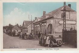 CPA: LONGCHAMPS (02) CAFÉ TABAC VIVIER ANCIENNES VOITURES.ÉCRITE - France