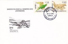INSTITUTO POSTAL DOMINICANO, INPOSDOM. PAJARO LAGARTO BIRS LIZARD. REPUBLICA DOMINICANA 1994 FDC FIRST DAY -LILHU - Dominicaine (République)