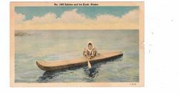 ALASKA, USA, Eskimo In His Kyak, Old Linen Postcard - Unclassified