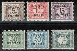 Ruanda-Urundi - 1924 - Y&T Taxes N°9* à 14*, Neufs Avec Traces De Charnières - Ruanda-Urundi