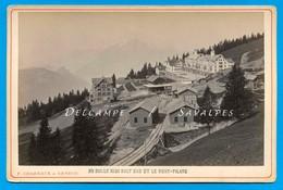Suisse Lucerne * Rigi Kaltbad Chemin De Fer à Crémaillère * Photo Albumine Charnaux Vers 1875 - Voir Scans - Antiche (ante 1900)