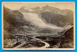 Suisse Valais Gletsch * Glacier Du Rhône, Hôtel En Construction, Route Furka * Photo Garcin Vers 1875 - Voir Scans - Oud (voor 1900)