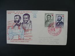 Enveloppe 1958  FDC Cachet Croix Rouge Française  Toulouse  N° 1187-1188 Saint-Vincent-De-Paul & J. Henri Dunant - 1921-1960: Periodo Moderno