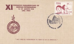 XI CONGRESO PANAMERICANO DE CIENCIAS VETERINARIAS 1988 LIMA. PERU FDC PRIMER DIA -LILHU - Pérou