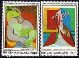 Centrafricaine P. A.  N° 246 / 47 XX 100ème Anniv. De La Naissance De Picasso, Les 2 Valeurs Sans Charnière, TB - Centrafricaine (République)