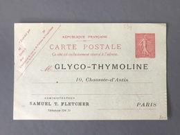 France Entier 129-CP1 Neuf - Repiquage GLYCO-THYMOLINE - (B3251) - Entiers Postaux