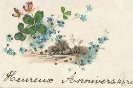 Art Card With Paillettes Myosotis . Trèfle . Avant 1903 - Post