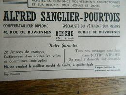 BINCHE: CARTE PULICITAIRE DE CHEZ ALFRED SANGLIER-POURTOIS -40 RUE DE BUVRINNES -TAILLEUR - Advertising