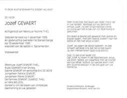 VISBEWERKER J.GEVAERT °HEIST 1936 +BLANKENBERGE 1993 (Y.THIEL) - Images Religieuses