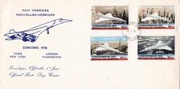 FIRST FLIGHT, NEW HEBRIDES NOUVELLES HEBRIDES. CONCORDE 1978, PARIS LONDON NEW YORK WASHINGTON. FDC  -LILHU - FDC