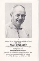 DIRECTEUR VISMIJN Te ZEEBRUGGE A.BALBAERT °Engeland 1916 +BRUGGE 1985 (R.LUICKX) - Images Religieuses