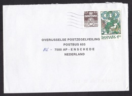 Denmark: Cover To Netherlands, 2 Stamps, Bird, Egg, Painting (roughly Opened) - Dänemark