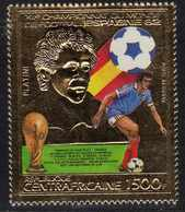 """Centrafricaine P. A.  N° 287 XX """"Espana'82"""", Coupe Du Monde De Football, 1500 F. Sur Or, Sans Charnière, TB - Centrafricaine (République)"""