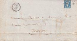 """FRANCE : PC 4032 . """" CHERVEY """" . (09) . SUR IMPRIME . B . 1858 . - Marcophilie (Lettres)"""