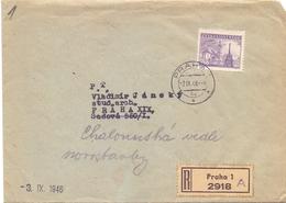 CECOSLOVACCHIA COVER  REGISTRED MAIL PRAHA 1946  (FEB201022) - Cecoslovacchia