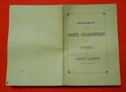 1884 Règlement Société Philarmonique De Ste Cécile à St Leger Luxembourg Belge 10.5x15 Cm 8 Pages éditeur JB Raty Virton - Musique