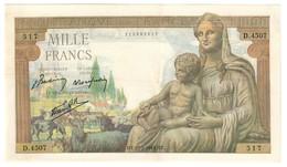 FRANCE1000FRANCS25/02/1943VF+DEESSE DEMETER.CV. - 1871-1952 Anciens Francs Circulés Au XXème