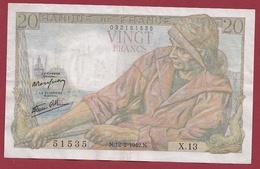 """20 Francs """"Pêcheur"""" Du 12/02/1942.N.----TTB+---ALPH.X.13---AUCUN TROU D EPINGLE - 20 F 1942-1950 ''Pêcheur''"""