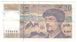 FRANCE20FRANCS1991VF/XFDEBUSSY.CV. - 1962-1997 ''Francs''