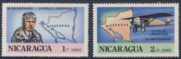 "Nicaragua 1977 Mi 1986 /7 SG 2114 /5 ** Charles Lindbergh (1902-1974) + ""Spirit Of St. Louis"",  Map Nicaragua - Avions"