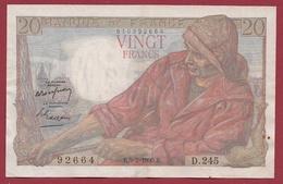 """20 Francs """"Pêcheur"""" Du 09/02/1950.E----TTB+---ALPH.D.245---ALPHABET PEU COMMUN--AUCUN TROU D EPINGLE - 20 F 1942-1950 ''Pêcheur''"""