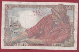 """20 Francs """"Pêcheur"""" Du 09/02/1950.E----TTB+---ALPH.S.243---ALPHABET PEU COMMUN--AUCUN TROU D EPINGLE - 20 F 1942-1950 ''Pêcheur''"""