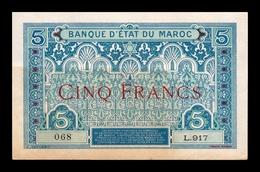 Marruecos Morocco 5 Francs 1921 Pick 8 SC- AUNC - Marokko