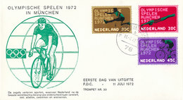DC-2379 FDC NETHERLANDS 1972 - OLYMPICS GERMANY MÜNCHEN THREE STAMPS ON RARE COVER CYCLING - Zomer 1972: München