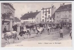 Départ Pour La Montagne. Troupeau Dans Les Rues De Bulle. Hôtels De L'Union Et Du Cheval-Blanc - Elevage