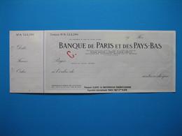 """(1937) Chèque """" BANQUE De PARIS Et Des PAYS-BAS """" - Chèques & Chèques De Voyage"""