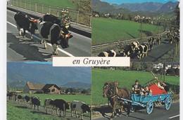 Troupeau De Vaches En Gruyère. Train De Chalet. 4 Vues. Poya. Format 10 X 15 - Elevage