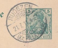 Ostpreussen Deutsches Reich Karte Mit Tagesstempel Rudszen Kr Pillkallen 1911 RB Gumbinnen - Allemagne