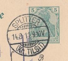 Ostpreussen Deutsches Reich Karte Mit Tagesstempel Splitter Kr Tilsit 1911 RB Gumbinnen - Allemagne